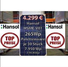 30 Stück 265 Watt Hansol Polykristallines Palettenware 7,95 KWp