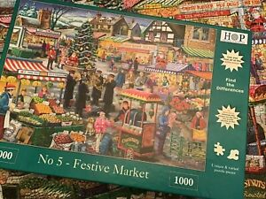 HOP House Of Puzzles Christmas Festive Market 1000 Piece Jigsaw Puzzle Complete