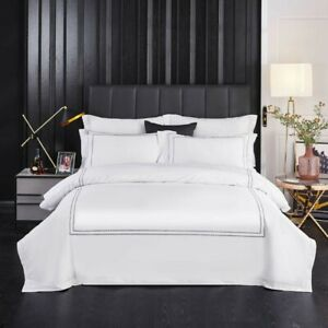 White 4Pcs Bedding Set Breathable Durable Cover Bed Sheet 2 Pillow Shams