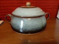 Pottery Hand Made Bean Pot Or Casserole Pot w/ Lid 10 x 4  excellent condition