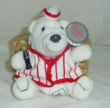 Soda Fountain beanbag Polar Bear 7in w miniature Coke Coca Cola bottle 1998 0171