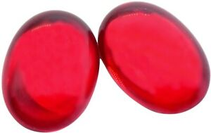 Ruby Red Glass Oval Cabochon Gold Foiled Vintage Germany  18 x 13 mm