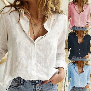 Damen Leinenhemd Leinenbluse Hemd Freizeit T-Shirt Bluse Tunika Oberteile Tops