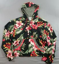 Vanity Women's Size Large L Floral Print Beaded Rayon Hooded Zip Front Jacket D3