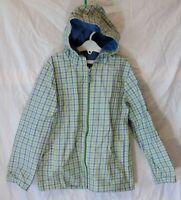 Boys Little White Company Blue Green Check Hooded Jacket Rain Coat Age 7-8 Years