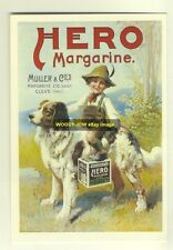 ad1895 - Hero Margarine - Boy on Dog - modern advert postcard