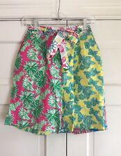 Vintage Lilly Pulitzer Culottes Floral Bermuda Shorts Tie Waist Women's 10 M EUC