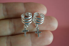 925 Sterling Silver Dangle Religious Cross Ear Cuffs Earrings Jewelry