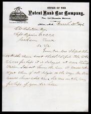 1872 Adrian Mi - Patent Railroad Hand Car Co - FANTASTIC Vintage Letter Head