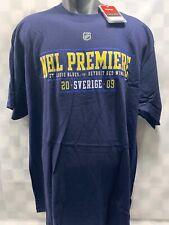 St Louis BLUES vs Detroit RED WINGS 2009 Stockholm Premiere T-Shirt Size XL NEW