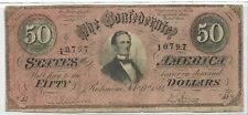 AUTHENTIC 1864 CONFEDERATE $50 NOTE - CIVIL WAR - CSA-NICE RED COLOR
