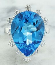 17.90 Carat Natural Topaz 14K White Gold Diamond Ring