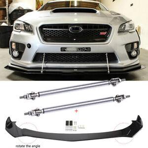 For Subaru WRX / STI Front Bumper Lip Spoiler Splitter Boby Kit+ Strut Rods Bars