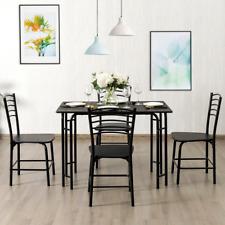 5 Pcs Wood Rectangular Dining Table Set