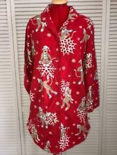 Nick & Nora Sock Monkey & Snowflakes Ladies Red Flannel Sleepshirt Size Small