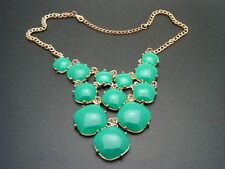 $24 Stephan & Co Green Cabochon 12-Stone Graduated Goldtone Statement Necklace