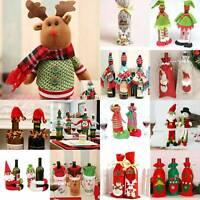 Merry Christmas Santa Wine Bottle Bag Cover Xmas Dinner Party Table Decors Gift