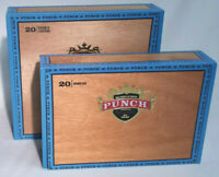 "2  ""Punch Gran Puro"" 1840 Wooden Cigar Boxes Gold Emboss Rancho & Double Corona"