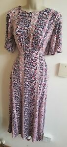 New Stunning Oasis Size M 10-12 Floral Midi Dress With Front Slit