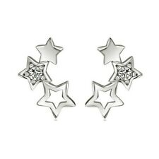 Three Stars with Crystal Constellation Novelty Ear Silver Color Stud Earrings