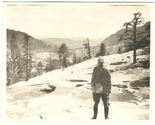 1930s-40s Intrepid Fly Fisherman Searches Mountains for Stream b/w Snapshot