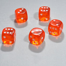 25 Stück 15mm Transparent Orange Knobel Würfel / Augen Würfel Frobis Spielwürfel
