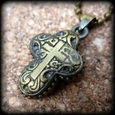 Steampunk Cross prayer Book Photo Locket necklace pendant pill wish Box Case