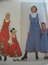 SIMPLICITY #8292 -MOMMY &ME BUTTON CONTRAST JUMPER & PETTICOAT PATTERN XS-XL  FF
