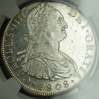1808 Lima JP Peru Silver 8 Reales Coin NGC UNC Details Charles IV BN