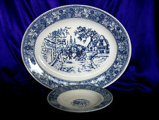 "Blue Transfer Ware Ironstone China 11 3/4"" Platter & 6"" Saucer"