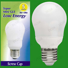 10x 5W Low Energy Power Saving CFL Mini GLS Light Bulb ES, E27 Edison Screw Lamp