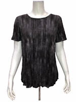 Lisa Rinna Collection Women's Printed Knit Top with Back Detail 1X Plus Size