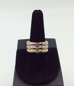 Three 14K Gold Rings Size 9.75; Yellow, Rose & White Gold; 2.75 Total Grams; New