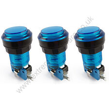 3 x 28mm Round 5v LED T10 Bulb Arcade Buttons & Microswitches (Blue) - MAME