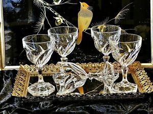 WONDERFUL ELEGANT CLEAR CRYSTAL VINTAGE LARGE WINE GLASSES FRANCE C 1930'S?