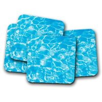 4 Set - Cool Blue Water Coaster - Swimming Pool Sea Beach Holiday Fun Gift #8805