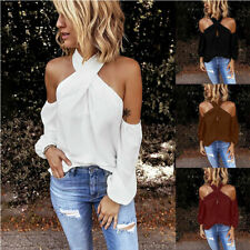 Womens Sexy Cold Shoulder Halter Top Fashion Blouse Long Sleeve Summer Tee Shirt