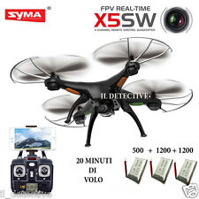 Drone SYMA X5SW FPV HEADLESS CAMERA HD real time WiFi 3 BATTERIE + RICAMBI
