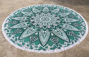 Dark Green lotus Mandala Round Tassel Beach Towel Round Beach Throw Table Cover