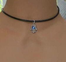 1Pcs Tibetan Silver Hamsa Hand With Evil Eye Pendant Black Leather Necklace