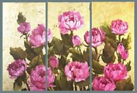 Peonies triptych with gold leaf golden Flowers by Mary B. Original oil Painting