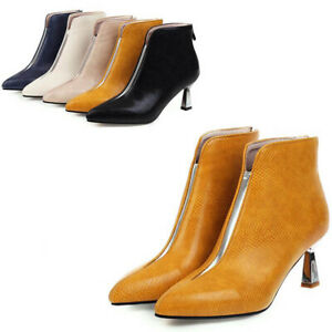 Womens Pointed Toe Ankle Boots Ladies Kitten Mid Heel Zip Bootie Shoes Plus Size