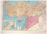 1954 Map of Turkey Syria Lebanon and Cyprus - Map of Iran and Iraq on Reverse