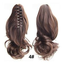 Womens Claw Thick Wavy Curly Short Ponytail Horsetail Clip In On Hair Extensions