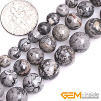 """Natural Silver Gray Jasper Gemstone Round Loose Beads For Jewelry Making 15"""" YB"""