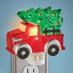 Classic Red Truck w/ Tree Christmas Home Kitchen Bedroom Night Light