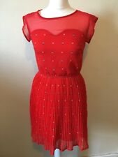 Sugarhill Boutique Ladybird Pleated Sheath Dress Size XS UK 8 Red Sweetheart