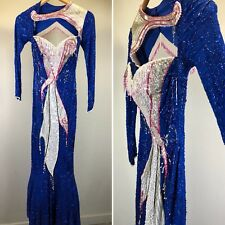 Vintage 80s Blue Beaded Dress Gown Fringe Keyhole Wiggle Mermaid Pinup Glam XS S
