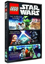 Star Wars Lego Collection Padawan Menace+Empire Strikes out+Yoda Chronicles DVD