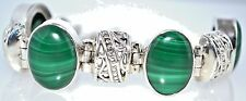 HALLMARKED 925 Natural Malachite Gem Sterling SILVER Bracelet Handmade Jewellery